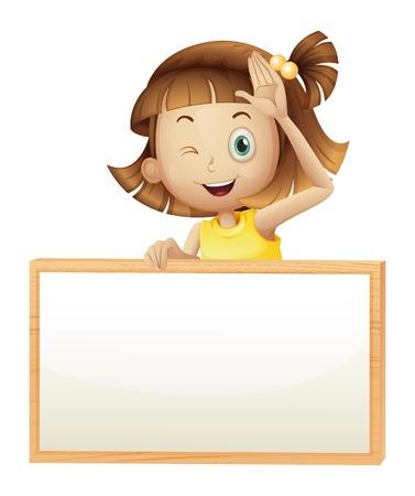 Ilustración de una chica parpadeando sus ojos sosteniendo un tablero vacío sobre un fondo blanco