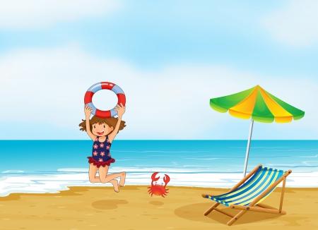 海岸で遊ぶ女の子のイラスト