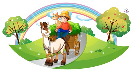 riding horse: Illustration of a farmer with his farm pets at the street on a white background Illustration