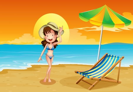 Illustration of a beach with a girl Vector