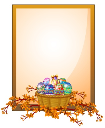 Illustration of an empty frame signage with a basket of eggs on a white background