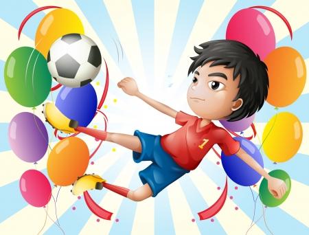 futbol soccer dibujos: Ilustración de un jugador de fútbol con globos Vectores