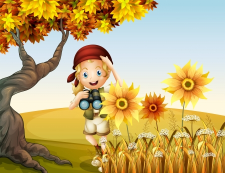 Illustration of a girl holding a telescope near the sunflowers Vector