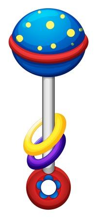 Ilustración de un juguete de colores para los bebés en un fondo blanco