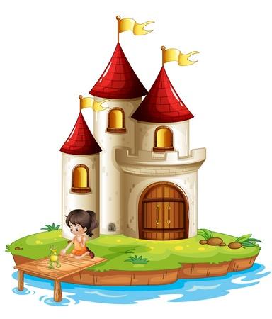 Illustratie van een meisje en een kikker op de brug in de voorkant van een groot kasteel op een witte achtergrond