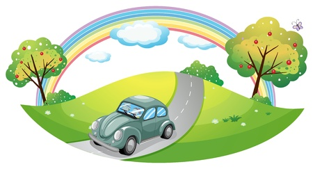 Illustrazione di una macchina che corre in strada su uno sfondo bianco