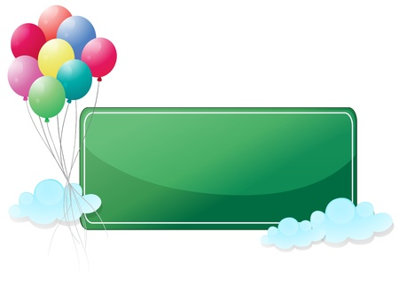 picutre: Illustration of a green signage with balloons on a white background
