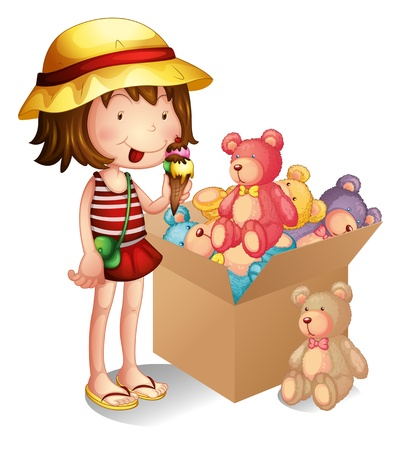 Illustration of a young girl beside a box of toys on a white background Vector