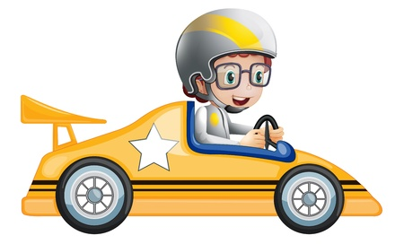 Illustration of a girl in her yellow racing car on a white background Vector