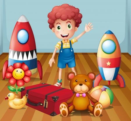 Ilustración de un muchacho joven con sus juguetes dentro de la habitación Ilustración de vector