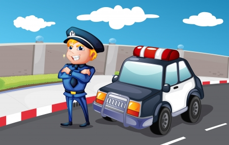Illustration of a smiling police officer at the street Vector