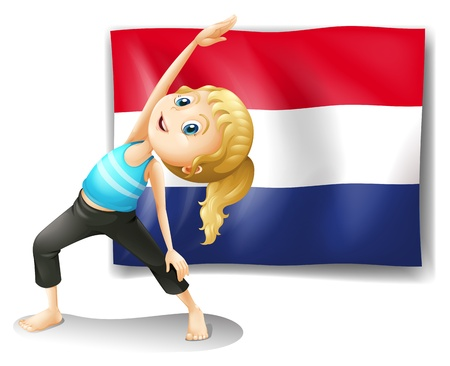 Illustration of a girl in front of the flag of Netherlands on a white background Vector