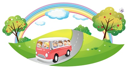 Illustration of a pink bus with passengers on a white background Vector