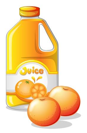 fruit drinks: Illustration of a gallon of orange juice on a white background