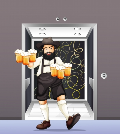 Illustration of a man with mugs of beer Vector