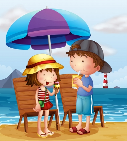 Illustration of the two kids at the beach near the wooden chairs Vector