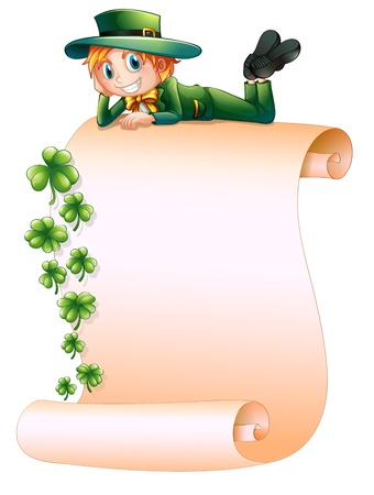 stpatrick: Illustration of a boy at the top of an empty paper on a white background Illustration