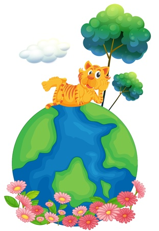 Illustration of a tiger at the top of a globe on a white background