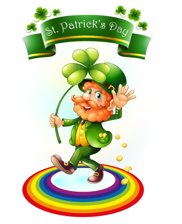 Illustration of a man holding a plant for St.Patricks day on a white background Vector