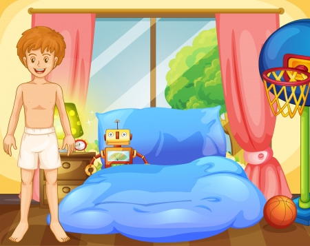 Illustration of a boy inside his room with a robot and a basketball net Vector