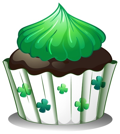 illustraiton: Illustration of a chocolate cupcake with green toppings on a white background