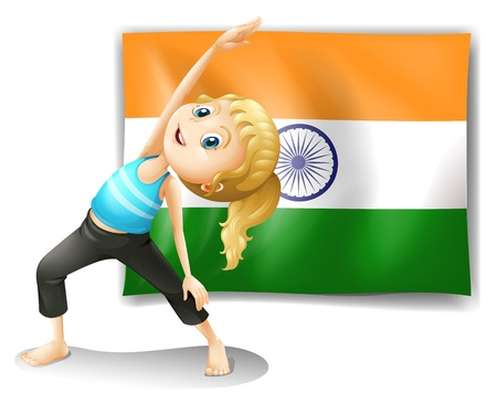 Illustration of a girl exercising in front of the flag of India on a white background Vector