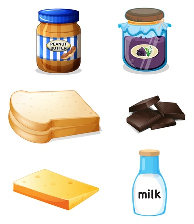 loaf of bread: Illustration of the different foods with vitamins and minerals on a white background