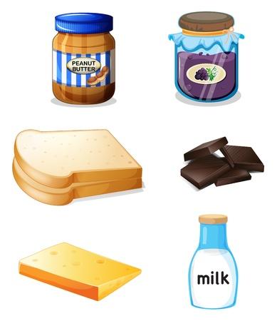 pan con mantequilla: Ilustraci�n de los diferentes alimentos con vitaminas y minerales en un fondo blanco Vectores
