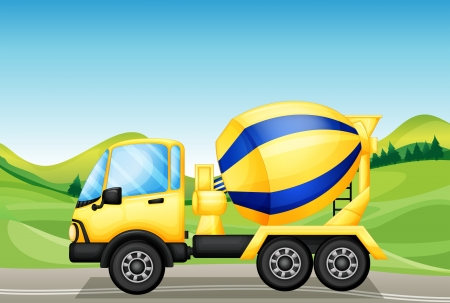 cement mixer: Illustration of an oil tanker at the road near the hills