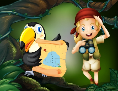 explorer: Illustration of a girl with a parrot holding a map