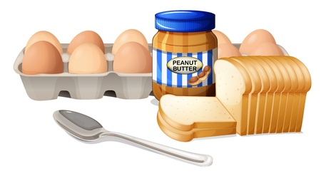 open sandwich: Illustration of a bread with peanut butter and eggs on a white background