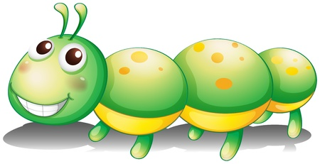 Illustration of a green caterpillar toy on a white background Vector