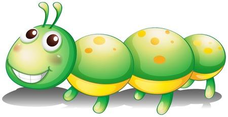 oruga: Ilustración de un juguete oruga verde en un fondo blanco