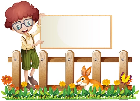 Illustration of a boy at the fence holding an empty board on a white background Vector
