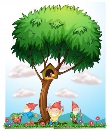 kabouters: Illustratie van de drie dwergen schoonmaken in de tuin op een witte achtergrond