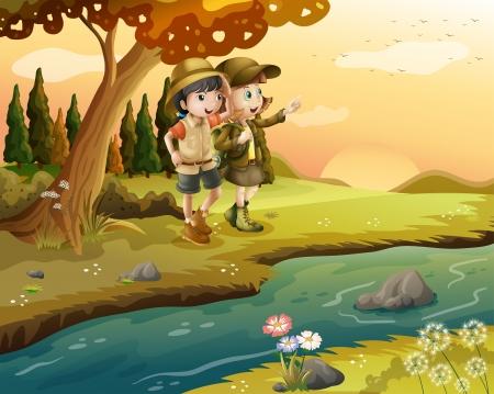 강둑: 강둑에서 소녀와 소년의 그림 일러스트