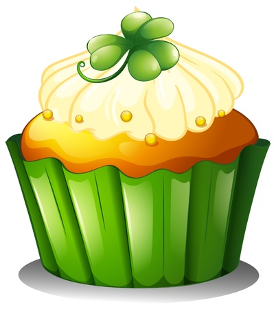 feast of saint patrick: Illustration of a delicious cupcake for St. Patricks day on a white background Illustration