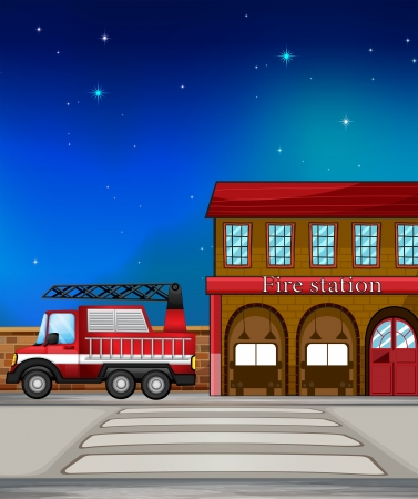 Illustration of a fire truck near the fire station Vector