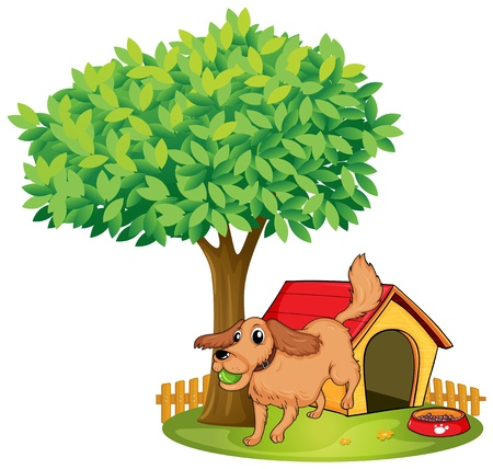 dog kennel: Illustration of a dog playing beside a doghouse under a tree on a white background