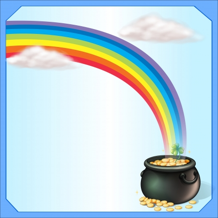 pot of gold: Illustration of a rainbow and the pot of coins