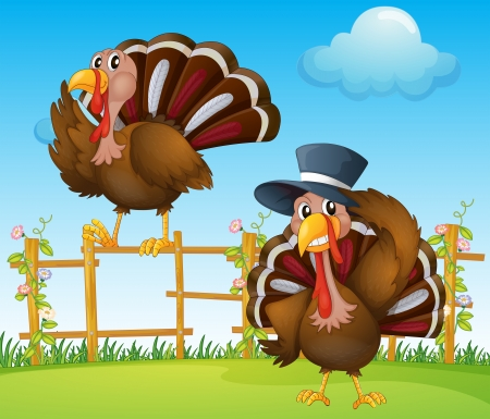 Illustration of a turkey above the wooden fence and a turkey wearing a hat