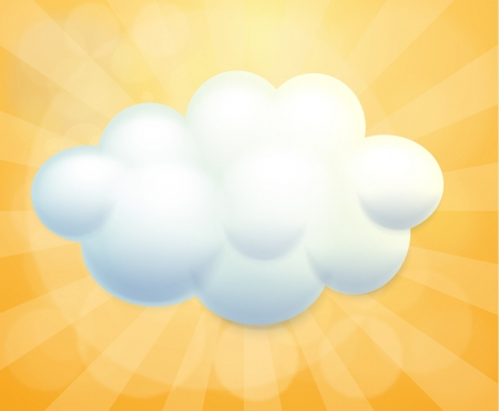 Illustration of a white cloud on an orange background Stock Vector - 18458701