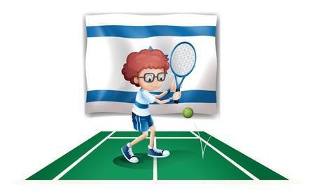 Illustration of the flag of Israel with a tennis player Vector