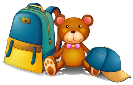 stuff: Illustration of a backpack, a bear and a baseball cap on a white background