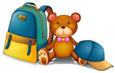 Ilustración de una mochila, un oso y una gorra de béisbol sobre un fondo blanco