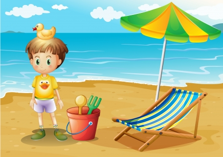 foldable: Illustration of a young boy and his toys at the beach Illustration