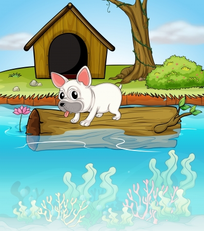 floating on water: Illustration of a dog above a floating trunk