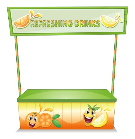quencher: Illustration of a stall for refreshing drinks on a white background