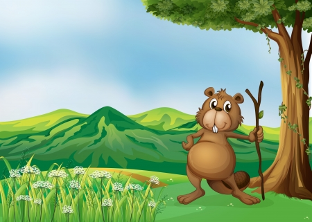 Illustration of a beaver holding a stick under the tree Vector
