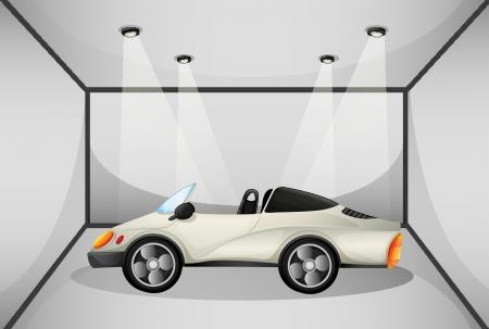 car showroom: Ilustraci�n de un coche deportivo elegante en el garaje